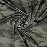 Stoffe Schulz | Funktionsjersey Camouflage, olivgrün |