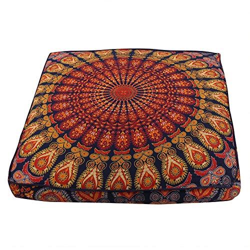 Federa quadrata per cuscino da pavimento, motivo mandala indiano, pavone, decorazione bohémien, cuscino da meditazione, cuscino da pavimento