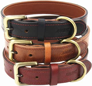 Moonpet Soft Padded Real Genuine Leather Dog Collar - Best Full Grain Heavy Duty Dog Collar - Durable Strong Adjustable fo...