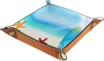 レザーバレットトレイ多目的 収納ボックストレイオーガナイザー小さなアクセサリーの収納に使用,夏のサーフボードビーチ