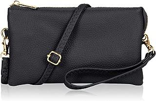 Convertible Vegan Leather Wallet Purse Clutch - Small Handbag Phone/Card Slots & Detachable Wristlet/Shoulder/Crossbody Strap