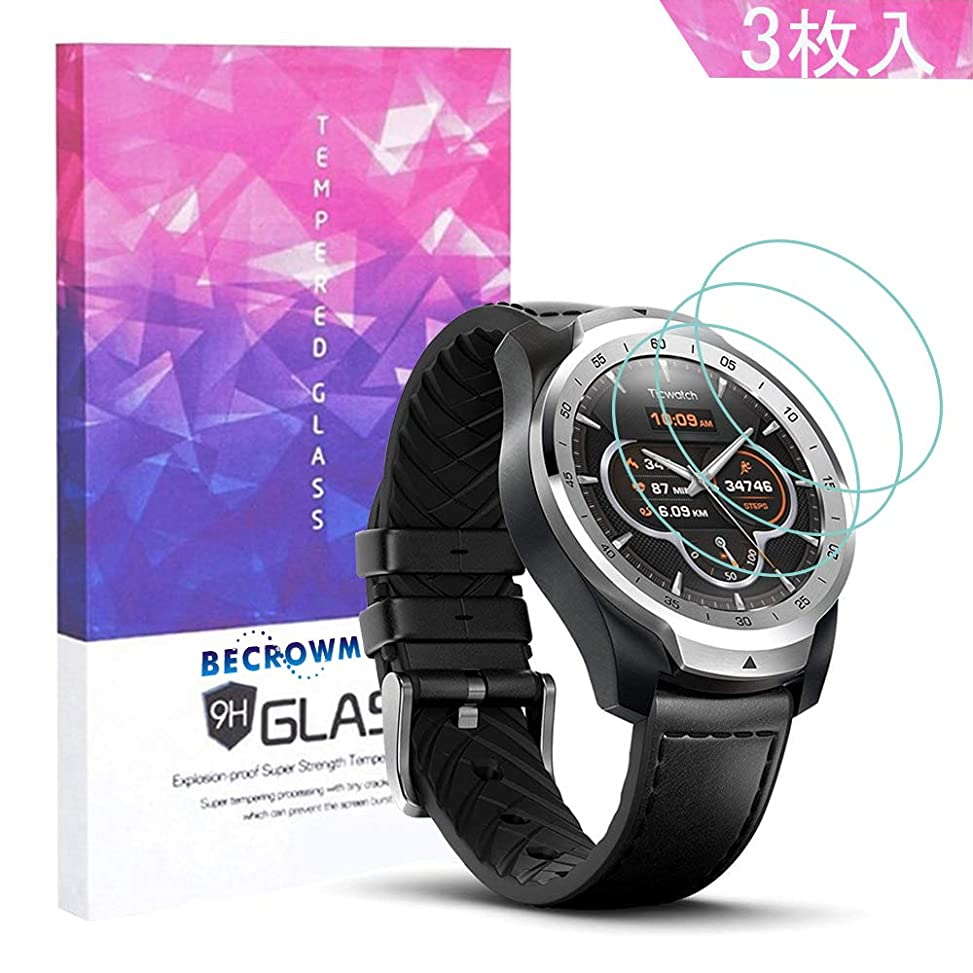 むさぼり食う青不規則なBecrowm Ticwatch Pro ガラスフィルム 液晶保護フィルム 高透過率 薄型 硬度9H 飛散防止処理 2.5D ラウンドエッジ加工 耐久性 防指紋 高感度 3枚入り