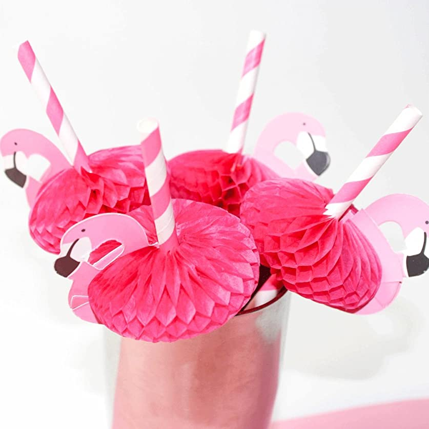 ほめるごめんなさい酸化物SSORA ペーパーストロー ストライプ ピンク フラミンゴ 20本 パーティー イベント お祭り デコレーション