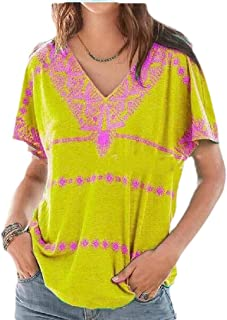 neveraway Women's Casual V Neck Short Sleeves Blouse Floral Print Summer T-Shirt
