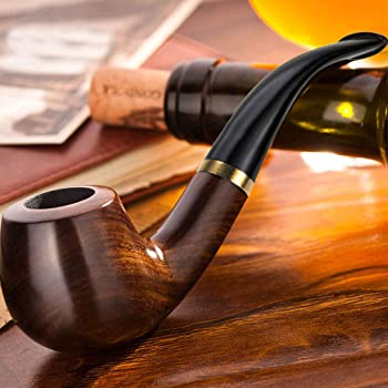 European Handcrafted Medium Sailor Wood Tobacco Pipe With Metal Filter Black