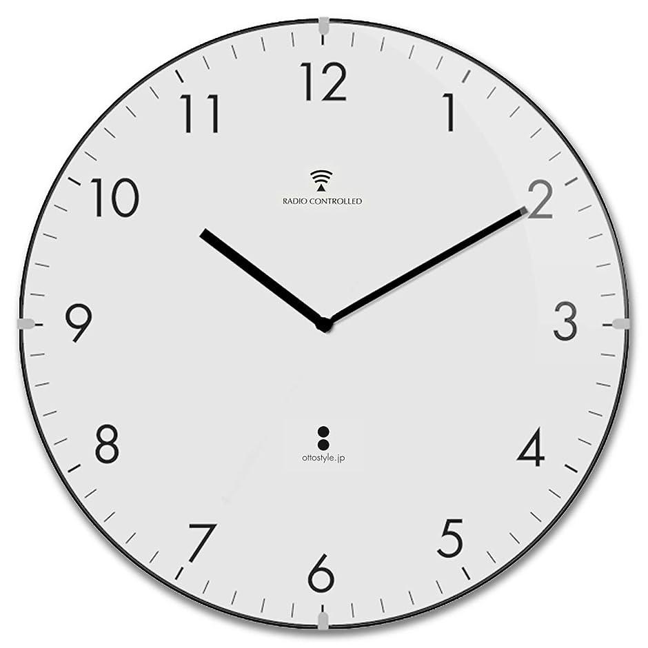 ドック解凍する、雪解け、霜解け混合ottostyle.jp 電波掛け時計 掛時計 【白盤/ブラックインデックス】 ドームガラス 見やすいシンプルな文字盤 連続秒針 サイレントムーブ 電波時計