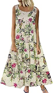 Mogogo Womens Casual Floral Printed Flounce Sleeveless Casual Party Dress
