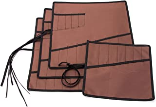 Heavy Duty Oxford Tool Roll Pouch Wrench Holder Organizer Bag With 12 Pockets Set Of 4(HGJ73) (Brown)