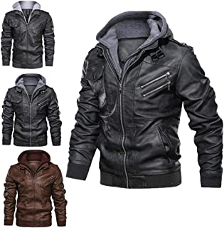 Eudsa Vasd Anarchist Leather Jacket, Removable Hood Genuine Leather Outwear