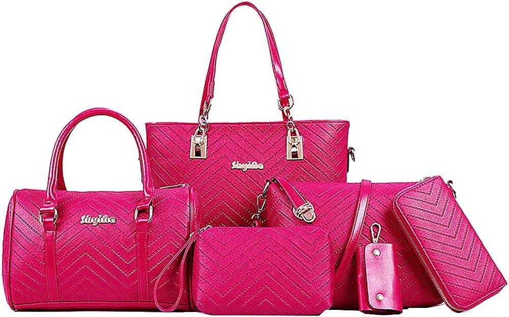 Niyuta, set di 4 borse, 1 portachiavi, 1 portafoglio,  in pelle pu di alta qualità NYT-EU32705