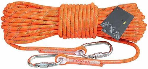 ANHPI Corde d'escalade De Plein Air Corde d'alpinisme Résistant à l'abrasion Corde De Rappel en Haute Altitude Corde De Sécurité,Orange-10m10.5mm