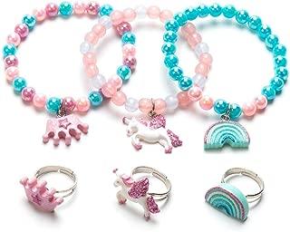 Annilubaby Unicorn Bracelet Ring Set - Rainbow Bracelet Shiny Crown Bracelet for Toddler Girls - Little Girl Jewel Rings Set Girl Pretend Play and Dress Up Rings