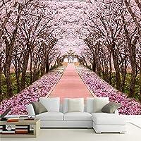 N/K カスタマイズされた3D写真壁画壁紙桜の木の廊下パスリビングルームベッドルームテレビソファ家の装飾背景壁モダンなシンプル-400X240CM