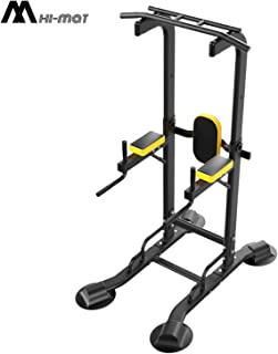 HI-MAT Adjustable Power Tower - Pull Up Bar Workout Dip Station Multi-Function Push Up bar for Home Gym Strength Training Fitness Equipment