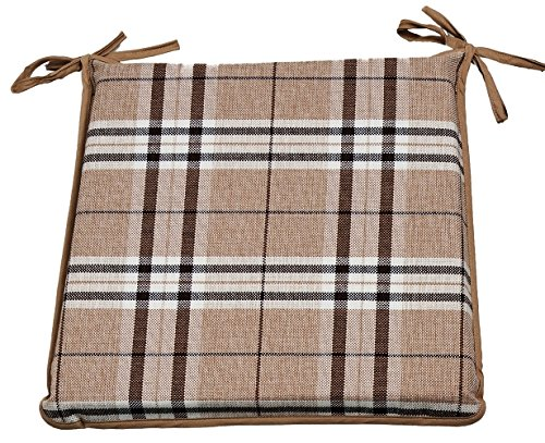 CnA Stores Set of 4 Tartan Check Reversible Kitchen Dining Garden Chair Cushion Seat Pads With Ties Zipped Removable Covers (Beige)