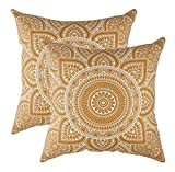 TreeWool - Pack de 2 - Mandala Acento Decorativo Fundas de cojín, 100% algodón (50 x 50 cm / 20 x 20 Pulgadas, Mostaza)