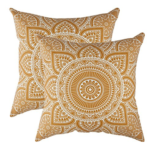 TreeWool, Pack of 2, Throw Pillow Cover Mandala Accent 100% Cotton Decorative Square Cushion Cases (18 x 18 Inches / 45 x 45 cm; Mustard in Off-White Background)
