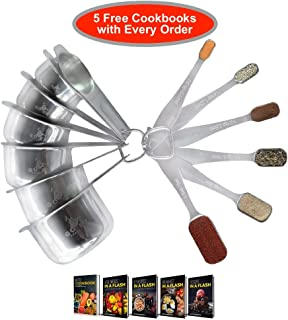 Stainless Steel Measuring Cups and Spoons Set by Go EZ Products-Sustainable Lifetime Set-Easy Stackable Storage-Dishwasher Safe-Complete Measurements needed for Baking and Cooking