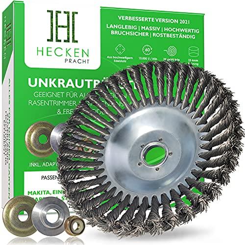 HECKENPRACHT© Profi Unkrautbürste für Freischneider | Verbessertes Konzept 2021 - Wildkrautbürste für Motorsense zur effektiven Unkrautentfernung - 25,4mm Bohrung | Drahtbürste Freischneider