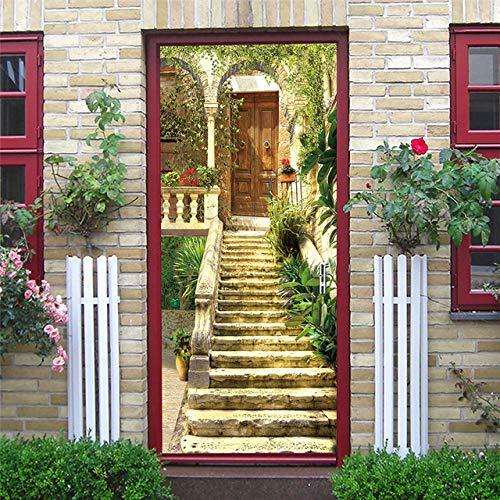 KJKL3D Door Sticker interior art doors Poster muraldecal Wall Murals stickers Garden staircase building pvc Self Adhesive Door Mural living Room bedroom Office Home Decoration 95x215cm