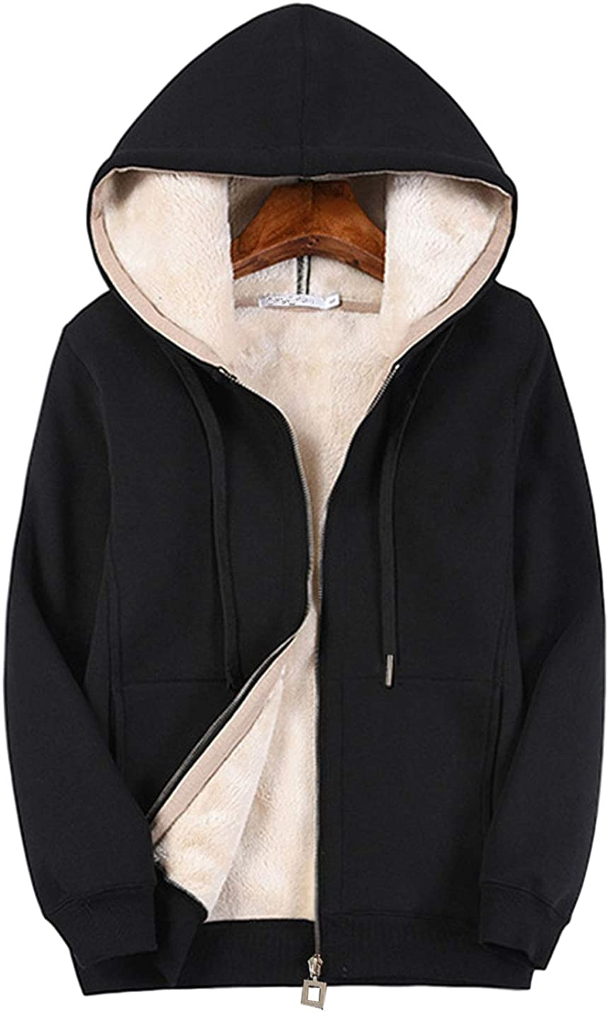 PUWEI Women's Warm Sherpa Fleece Lined Zip Up Hooded Sweatshirt Jacket Coat