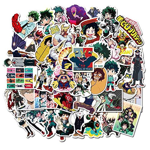 Zhenzhiao Demon Slayer Sword Art Online Black Deacon Sailor Moon UFO My Hero Academia Dragon Ball Anime Sticker Skateboard Laptop Gepäck Kühlschrank Auto DIY Magic My Hero Academia, 50 Stück