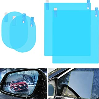 Car Rearview Mirror Film 4Pcs Car Side View Mirror Anti Glare Film Nano Films Anti Fog Rainproof Waterproof Membrane Protector for Car Rear View Mirrors Side Windows(2pcs Oval & 2pcs Rectangular)