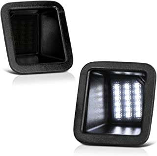 VIPMOTOZ Full LED Smoked Lens License Plate Light Tag Lamp Housing Assembly Replacement Pair For 2017-2019 Ford F-250 F-350 F-450 Super Duty Pickup Truck - 6000K Diamond White,  2-Pieces