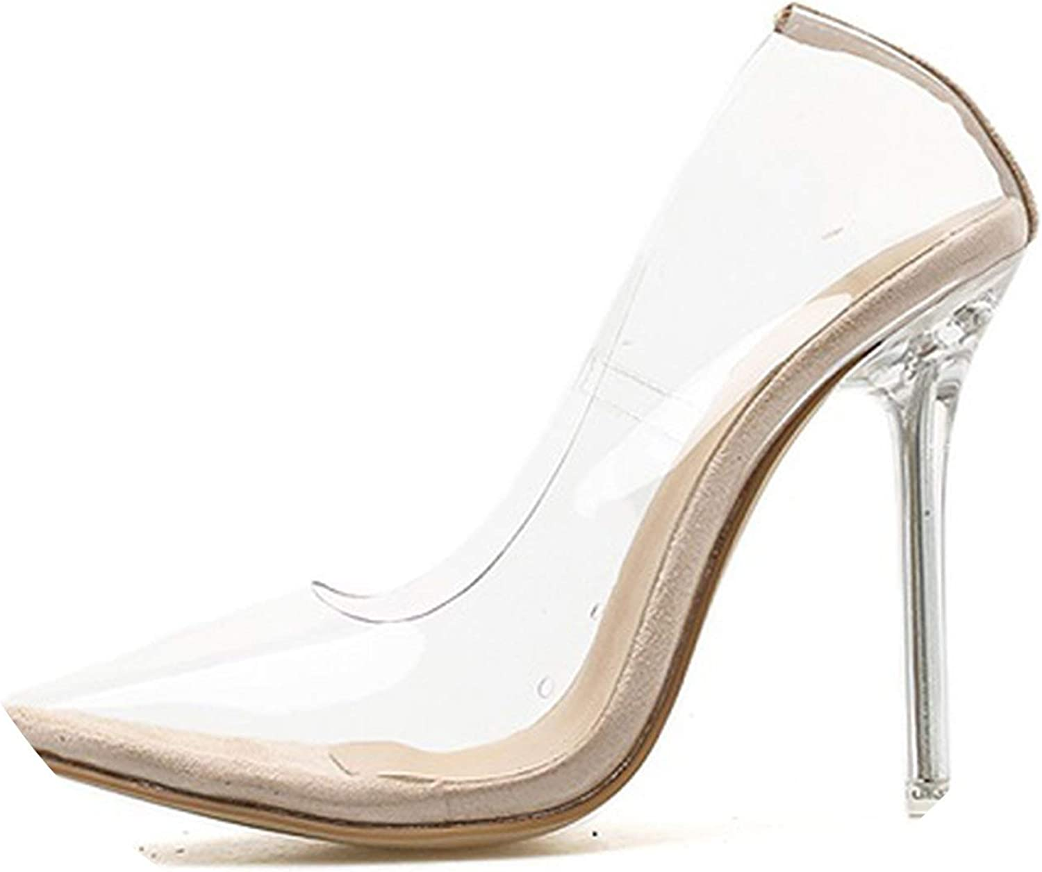 HANBINGPO Clear PVC Transparent Pumps Sandals Perspex Heel Stilettos High Heels Point Toes Womens Party shoes Nightclub Pump 35-42,Apricot,8