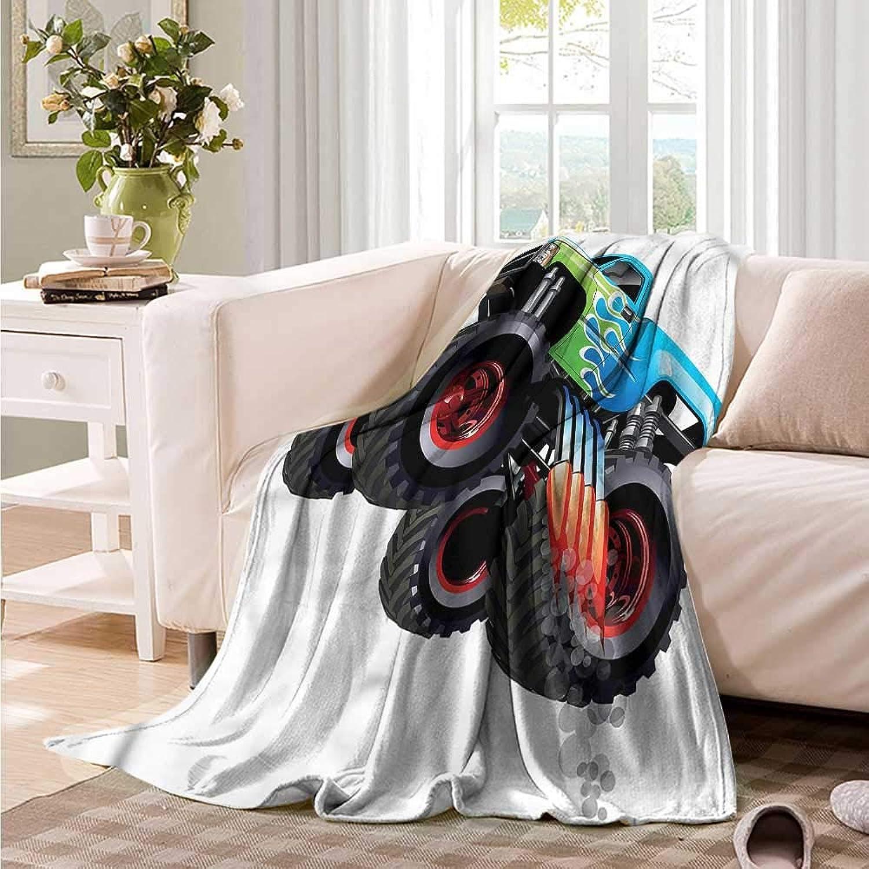 Oncegod Flannel Blanket Cars Monster Truck Cool Cartoon Blanket on Bed Sofa Bedding 60  W x 51  L