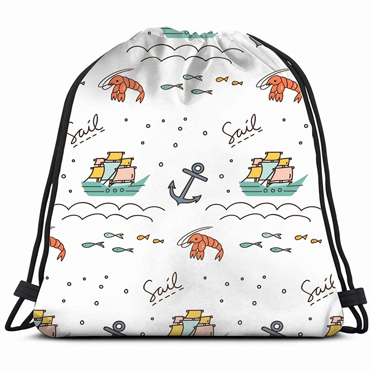 print pattern sailboat anchor shrimp backgrounds textures abstract Drawstring Backpack Gym Spacious Pull String Backpack Multifunctional storage bag 14.2 x 16.9 inch