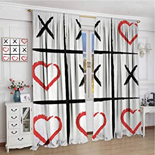 Living room curtains W72 x L84 Inch,Decor Collection Thermal/Room Darkening Window Curtains,Xo,Simplistic Love Game and Happy Valentines Cute Humor Hobby Symbols Design,Pale Grey Vermilion Black