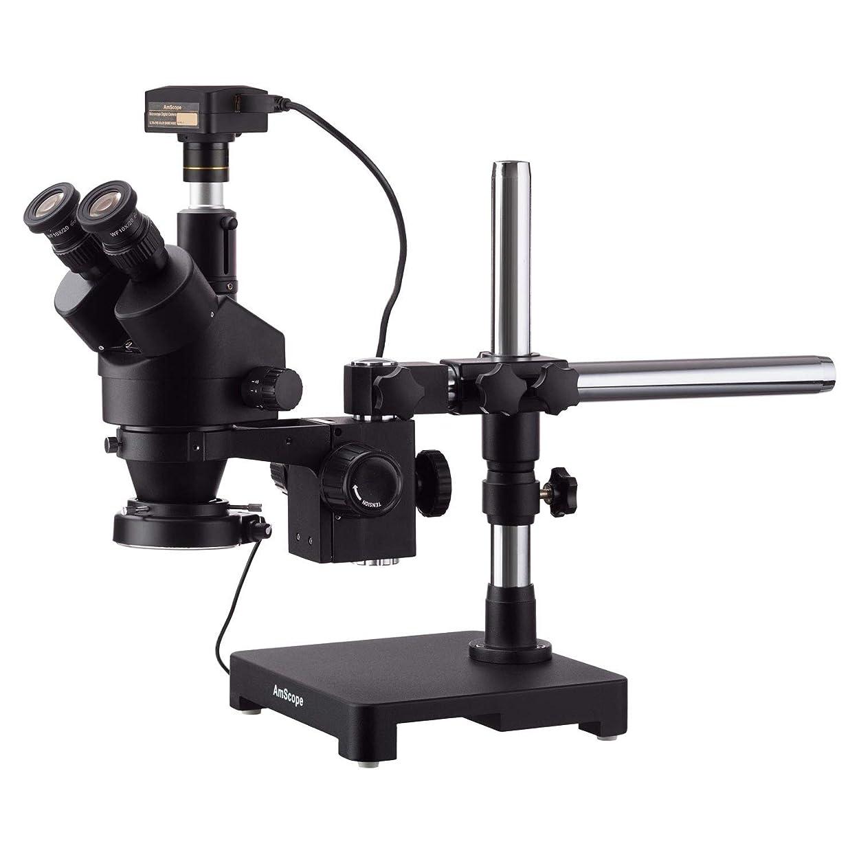 ホームレス置き場サドルAmScope 14MP USB3.0カメラ付きシングルアームブームスタンド+ 144 LEDコンパクトリングライトで3.5X-90Xブラック三眼鏡ステレオズーム顕微鏡