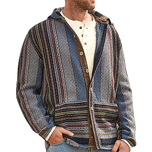 Chaqueta de punto con capucha para hombre, diseño de rayas retro
