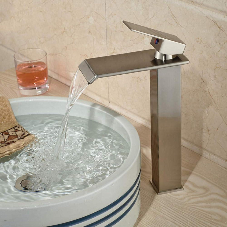 Gorheh Nickel Gebürstet Wasserfall Auslauf Waschbecken Mischbatterien Einhebel Aufsatz Waschbecken Wasserhahn