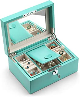 Vlando Lockable Jewelry Box, Two Tray Microfiber Leather Jewelries Collections Organizer, Girls Gift -Peacock Green