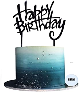 کیک تولدت مبارک SHAMI Topper کیک اکریلیک Cursive Toppers Birthday Party Decoration Supply Cake Sign Party Party Banner-For Man Woman (Black)