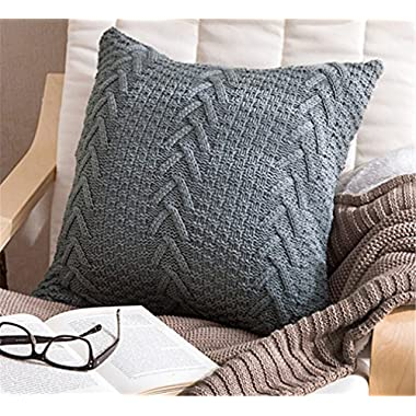 Decorative Cotton Knitted Pillow Case Cushion Cover Double-Cable Warm Throw Pillow Covers for Bed Couch 18  X 18  (Cover Only, Grey)