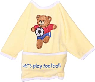 Papillon Bear Embroidered Wearable Bib for Kids - Yellow