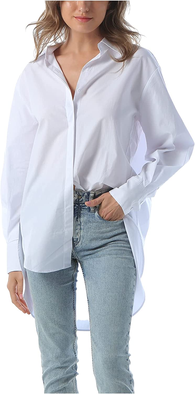 Spicy Sandia Women's Cotton Long Sleeve Blouse with Button Down Fashion Shirt, Hi-Low Hem,Relaxed fit