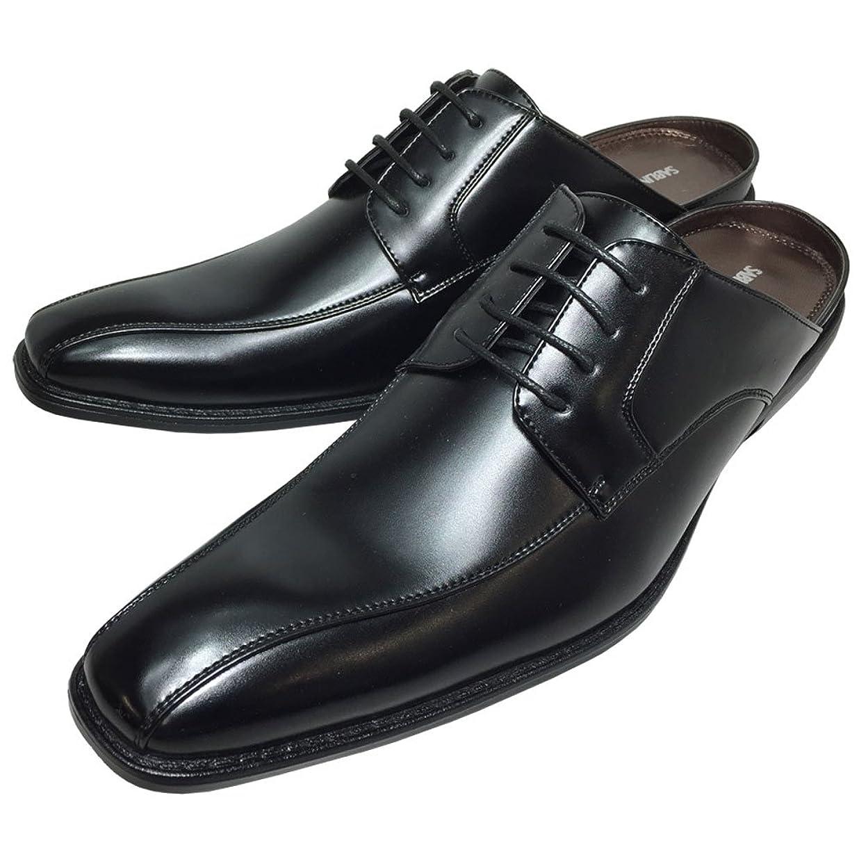 余剰ホップ木材SABLINA VALENTINO 靴 メンズ ビジネス サンダル ビジネスシューズ スリッパ クールビズ 脚長 足ムレ防止 スリッポン