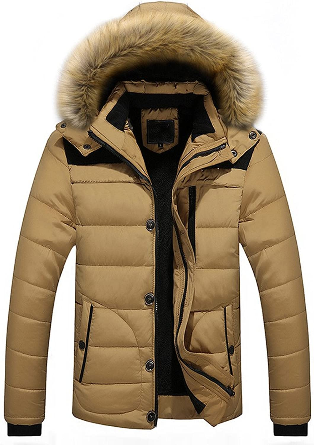 Malbaba Men Outdoor Warm Winter Thick Jacket Plus Fur Hooded Coat Jacket