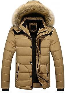 Sunward Coat for Men,Men Outdoor Warm Winter Thick Jacket Plus Fur Hooded Coat Jacket