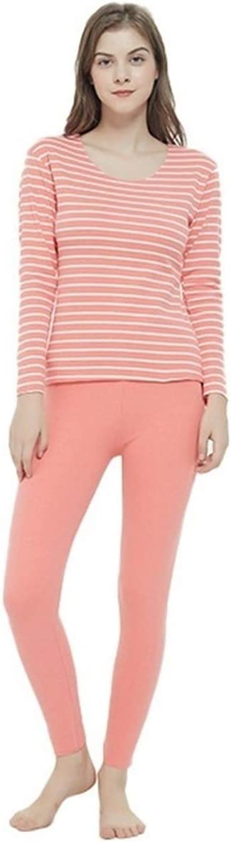 Glqwe No Trace Autumn Winter Plus Size 7XL Long Johns for Women Stripe Fever Thermal Underwear Women's Warm Sets Tops and Pants (Color : Coral Red, Size : 5XL)