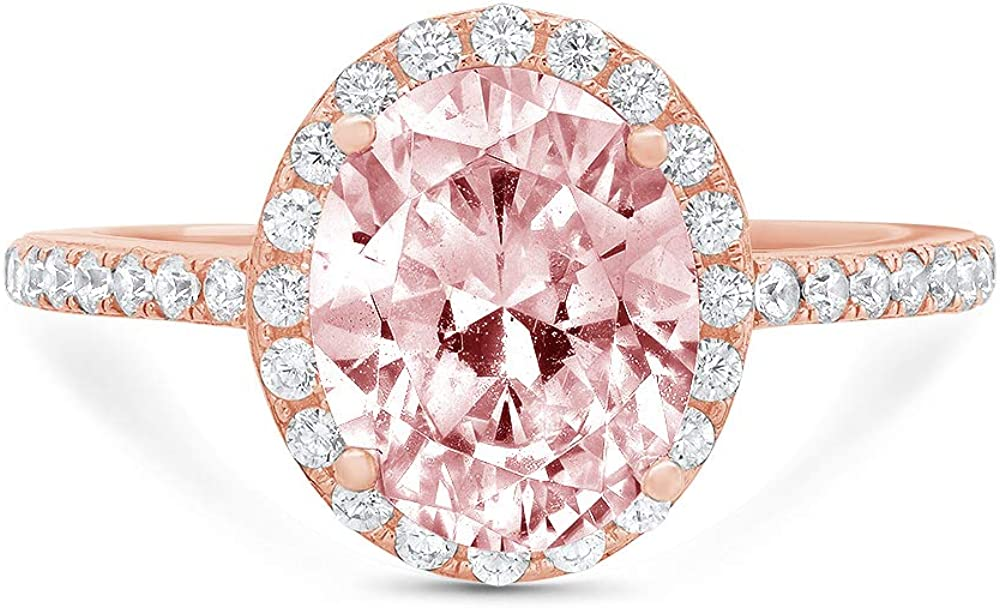 3.42ct Brilliant Oval Cut Solitaire with Accent Halo Pink Ideal VVS1 Simulated Diamond CZ Engagement Promise Statement Anniversary Bridal Wedding Ring Real 14k Rose Gold