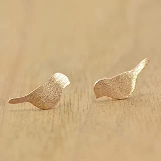 925 Sterling Silver Rose Gold Plated Little Birds Earrings Studs