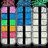 3 Cajas Lentejuelas Luminosas para Uñas, EBANKU Brillo fluorescente en Oscuridad Decoración con Purpurina Holográfica, Mariposa, Estrella, Amor, Corazón, Lentejuelas de Colores Brillantes
