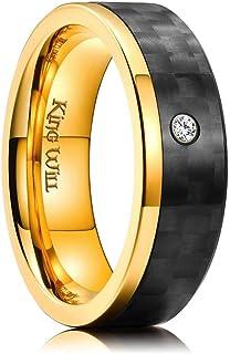 خاتم زفاف رجالي من ملك ويل جنتلمان مطلي بالذهب 7 مم من التيتانيوم بلون أسود من ألياف الكربون مطعمة بأحجار الزركونيا المكعبة
