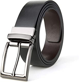 Men's Belt Genuine Leather Reversible Belt With Anti-Scratch Pin Buckle, Suits For Casual & Formal & Business (Color : Brown2, Size : 125cm)
