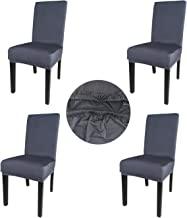 Gold Fortune Spandex Fabric Stretch Removable Washable Dining Room Chair Cover Protector Seat Slipcovers Set of 4 (Dark Gray)